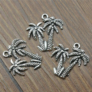 10 Pcs Coconut Trees Charm Silver Alloy Pendant Jewellery Making Gifts