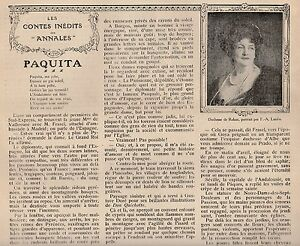 Coupure de presse Paquita- conte inédit par la Duchesse de Rohan 1912 0YRJ0o9S-09152732-666363951