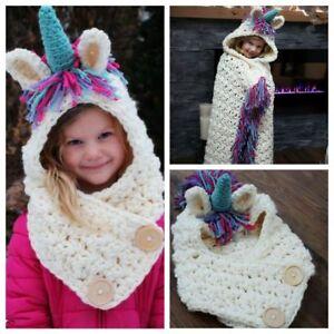 Lovely Crochet Unicorn Hat Scarf Hood Knit Beanie Cosplay Photo ... 9042119796f