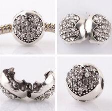 1pcs silver love ball White CZ snap beads fit Charm European Bracelet DIY #B954