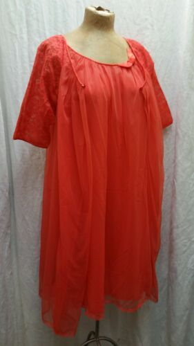 Vintage 1960's Orange Nylon & Lace Peignoir Nightg