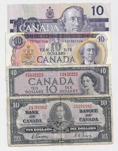 4-x-Bank-of-Canada-10-Notes-1937-1954-1971-amp-1989-Circulated