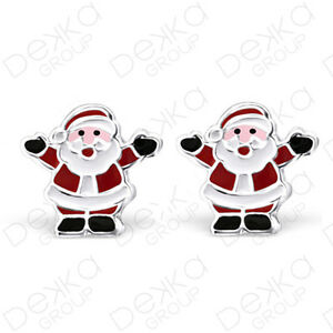 925-Sterling-Silver-Santa-Father-Christmas-Stud-Earrings-Studs-Childrens-Women