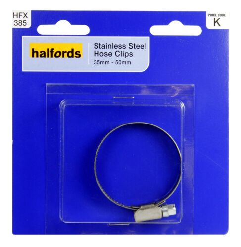 Halfords HFX385 Hose Pipe Clip Clamp 35-50mm Diameter Stainless Steel Screw Type
