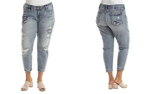 Silver-Jeans-Women-039-s-Plus-Elyse-Mid-Rise-Embroidered-Slim-Crop-Jean-Light-Wash
