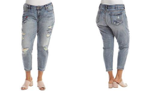 Silver Jeans Mid Elyse Jean leggero Lavaggio Slim rise Crop Donna 1qC1rnBR