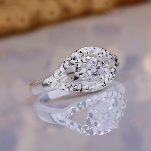Fashion 925Sterling Solid Silver Jewelry Crystal Eye Rings For Women R596