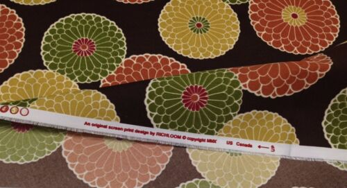 "RICHLOOM SPRINGDALE CHOCOLATE BROWN FLORAL OUTDOOR INDOOR FABRIC BY YARD 54/"" W"