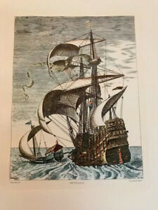 "Antique Etching  Peter Bruegel 13""x11"" Nef De Bande 3 Master on The Open Sea"