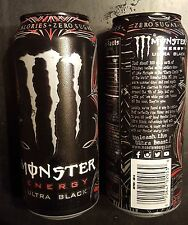 2x Monster Energy Drink 16oz ULTRA BLACK 2015 Release Cans - Full