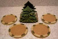 Drink Coaster Set of 4 Pine Tree Holder NIB