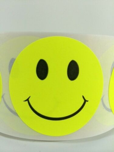 """100 2/"""" SMILEY YELLOW FLUORESCENT STICKERS Labels Stickers Supply Scrap Book NEW"""