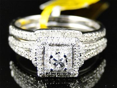 10K Ladies White Gold Round Diamond Solitaire Bridal Engagement Wedding Ring Set