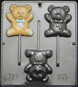 Image Is Loading Teddy Bear Lollipop Chocolate Candy Mold Baby Shower
