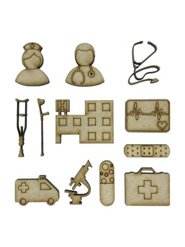 20x Assorted Doctors Nurse Hospital 3cm Wood Craft Embelishments Laser Cut Shape