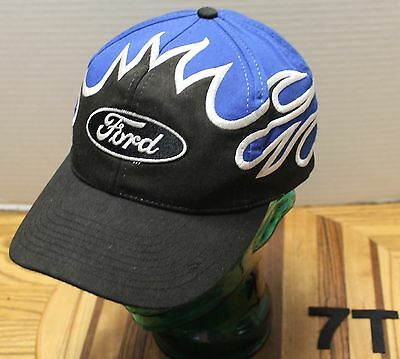 NICE FORD HAT BLUE & BLACK WITH FLAMES SNAPBACK ADJUSTABLE VERY GOOD CONDITION
