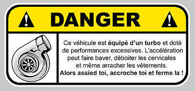 Auto, Moto – Pièces, Accessoires Turbo Danger Jdm Humour Fun Autocollant Sticker 12cmx5,5cm Da121 Up-To-Date Styling