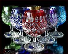 "Bohemia Colored Crystal Brandy Glasses 14 cm, 350 ml, ""Memfis"" 6 pc New!"