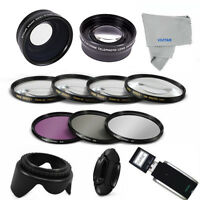 Usb + Wide Angle Lens + Telephoto Zoom + Hd Filter Kit For Nikon D3100 D40 D60