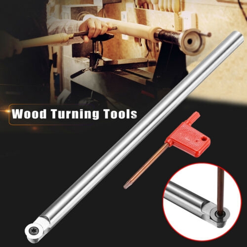 Wood Turning Carbide Tool Chisel R6 Round Tip Bit Lathe Straight Set T15 Wrench