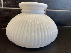 """Vtg White Ribbed Milk Glass Oil Lamp Student Globe Shade 5 1/4"""" T  6 7/8"""" Fitter"""