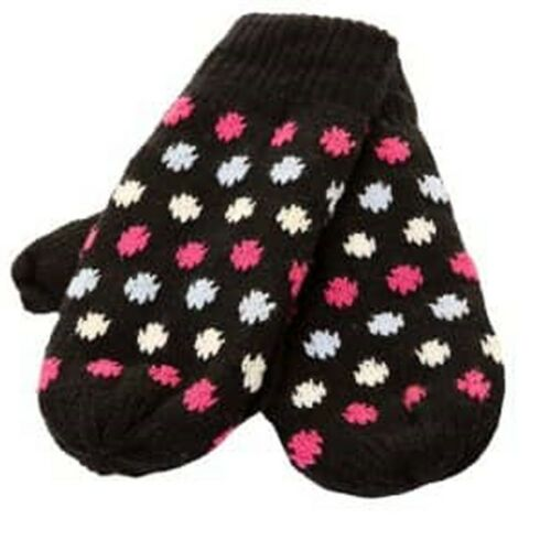 Girls Ladies Mittens Knitted Gloves Black Pink White Blue Polka Dots Spots