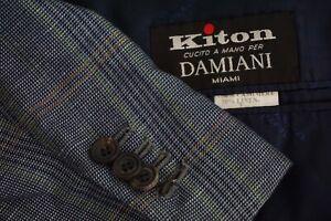 Kiton-Blue-Orange-Plaid-Cashmere-Linen-Blend-Sport-Coat-Jacket-Sz-48-Excellent