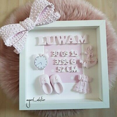 """/""""Mama mit Baby/"""" weiß Geschenk Taufe Bilderrahmen personalisiert Geburt"""