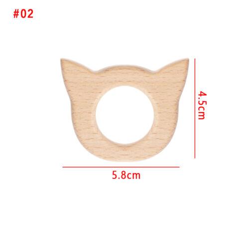 Shower Teething Nursing Holder Baby Teether Animal Shape Nature Wooden