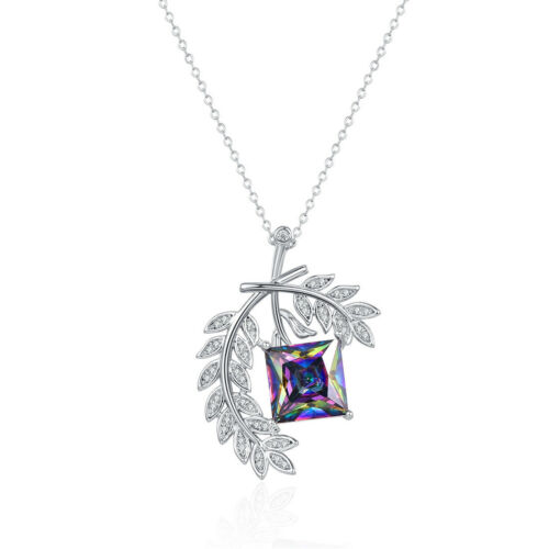 Feuille Cadeau Rainbow /& White Topaz Garnet Gemstone Silver Chaîne Collier Pendentif