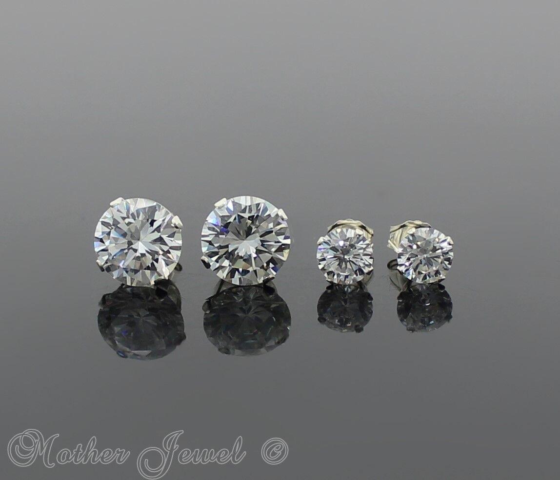 10mm Simulated Diamond Basket SOLID 925 STERLING SILVER Stud Unisex Earrings