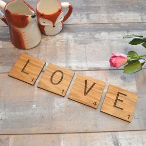 Scrabble Love Letter Oak Wooden Coasters Mats Valentine S Day Gift
