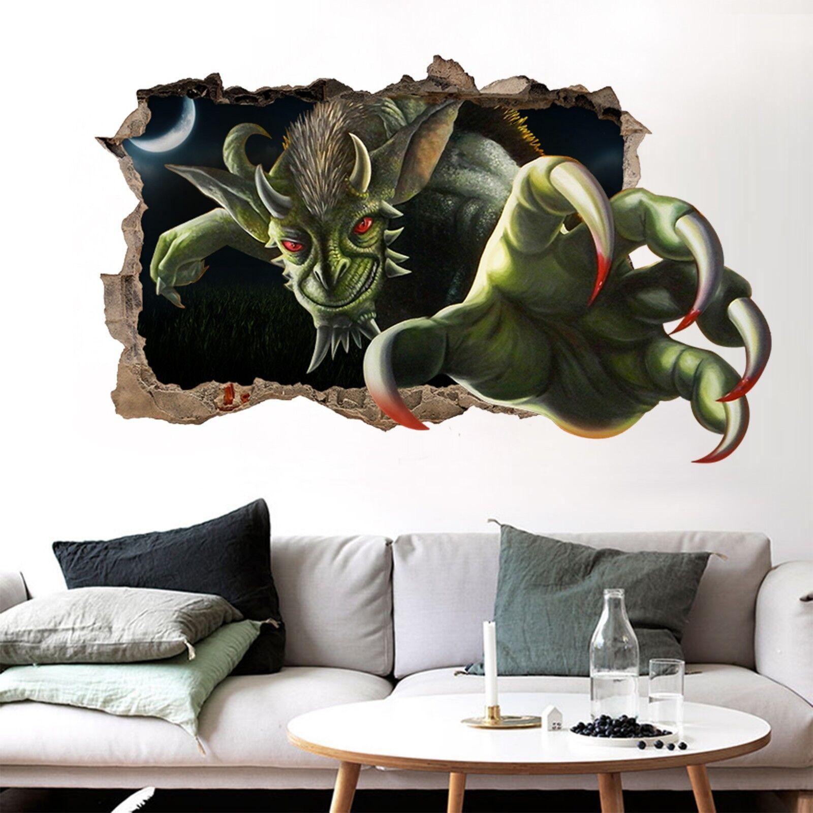 3D Mostro Verde 302 Parete Murales Adesivi Decal Sfondamento AJ WALLPAPER IT