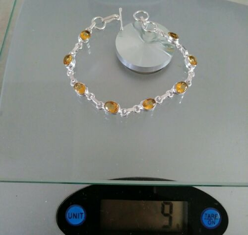 """NATURAL OVAL YELLOW GOLD CITRINE 925 STERLING SILVER LINK CHAIN BRACELET 7.5/"""""""