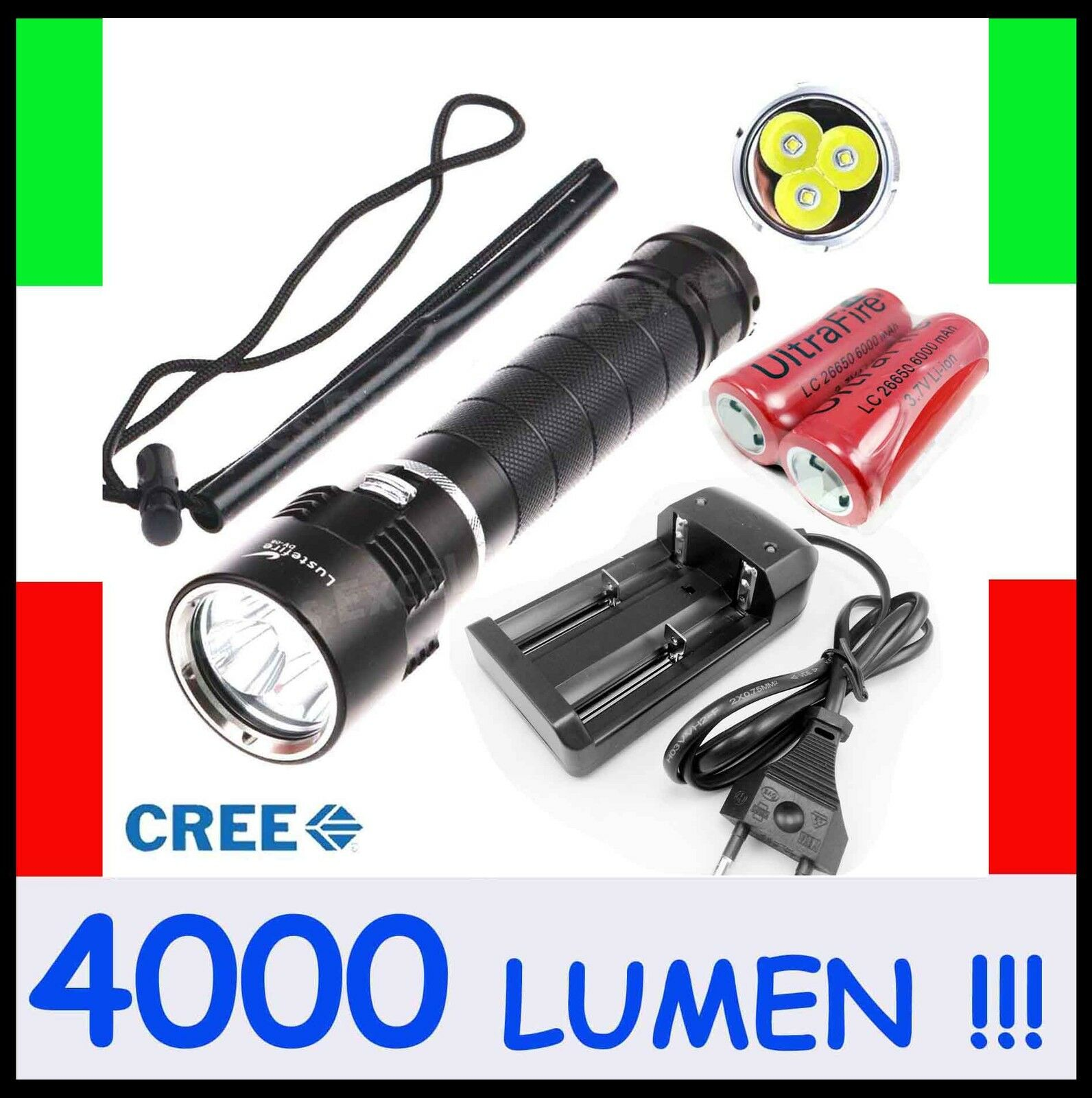 Torcia Lampada Subacquea Sub Apnea Diving Flashlight Torch 3xCREE Led 28650Liion