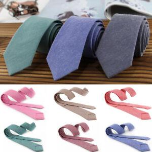 Men-Cotton-Narrow-Solid-Neck-Ties-Skinny-Ties-Slim-Necktie-Wedding-Party-Fashion