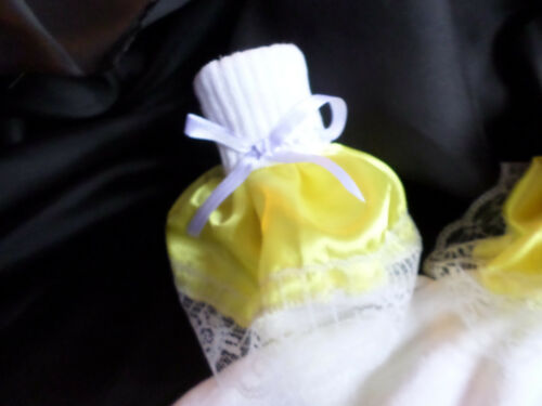 ADULT BABY SISSY  WHITE ANKLE SOCKS YELLOW SATIN  LACE TRIM SATIN BOWS  8-11