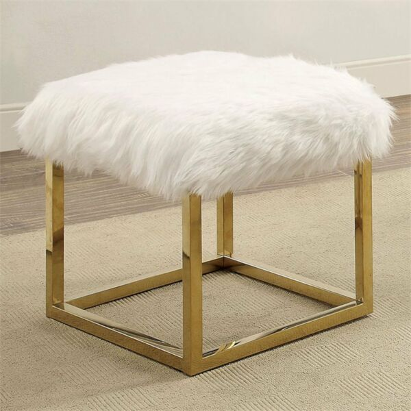 Contemporary Bedroom Furniture Sale: Contemporary Faux Fur Small Bench White Home Bedroom