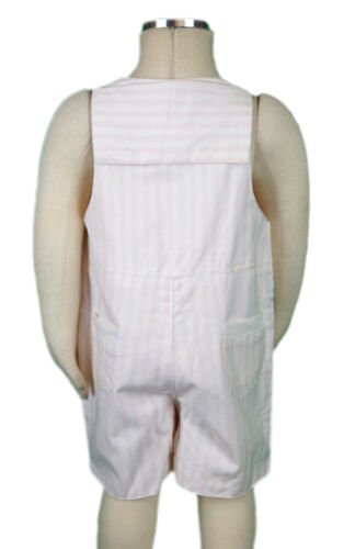 JACADI Girl/'s Tour White and Pink Stirped Short Overalls Size 18 Months NWT $46