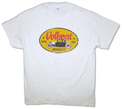 Volbeat Yellow Oval Logo-White T-shirt