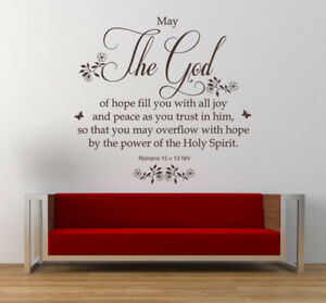 Romans 15 v 13 - Bible Quote, Christian Vinyl Wall Art Stickers ...