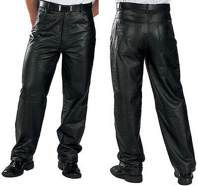 Xelement Classique Coupe Ample Homme Pantalon En Cuir entièrement doublé