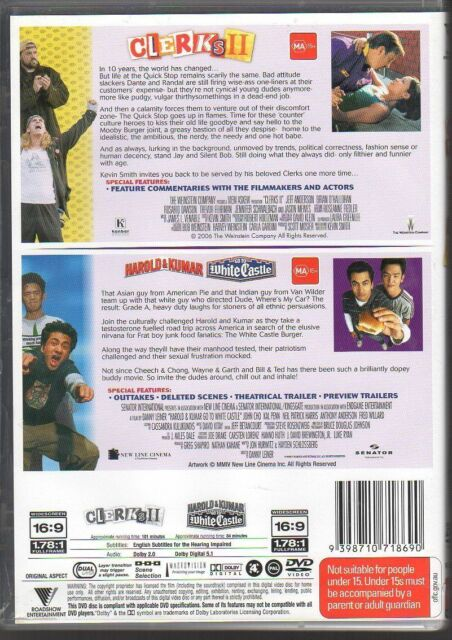 CLERKS II / HAROLD & KUMAR GO TO WHITE CASTLE - VERY GOOD - FEE POST