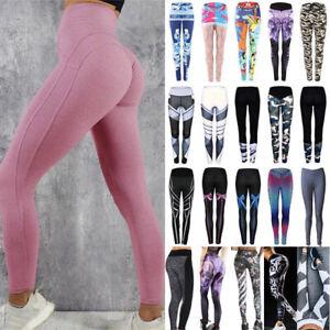 Womens Workout Running Legging Multi Colored Daisy Flowers Pattern Tummy Control Yoga Pants Sports