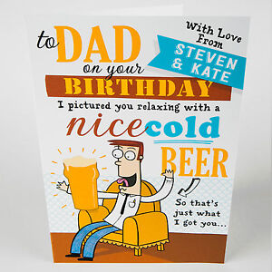 Details about dad birthday greetings card joke funny beer personalised add your name image is loading dad birthday greetings card joke funny beer personalised m4hsunfo