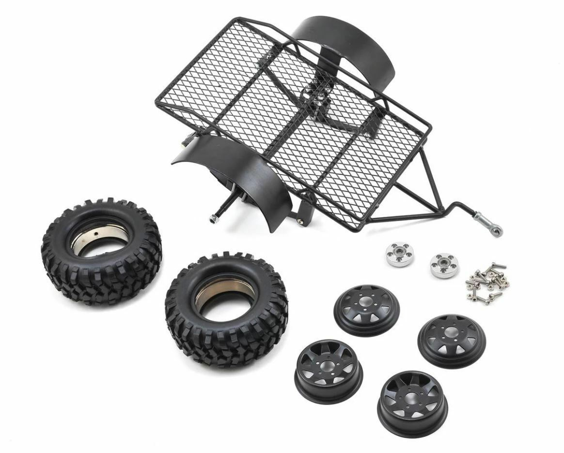 Yeah Racing 0405 1 10 Scale Aluminum Leaf Spring Hitch Mount Crawler Trailer TOY