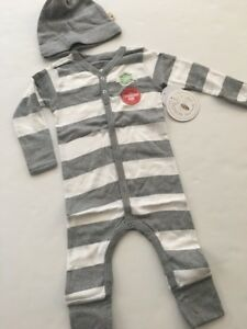 38b2bd906 Burts Bees Baby Boy Organic Coverall Hat Set Size 9 12 18 24 Months ...
