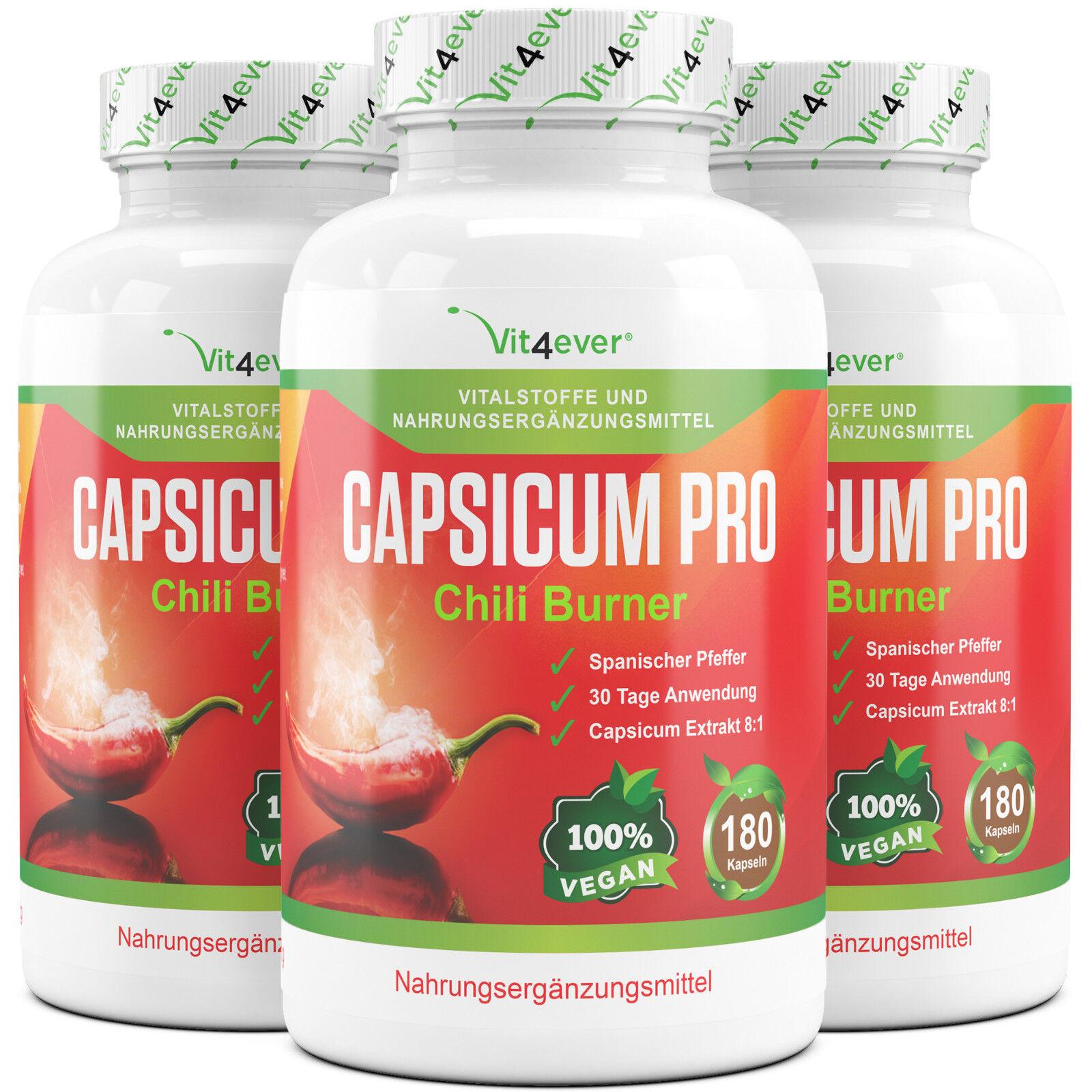 3x Capsicum Pro Natural Chili Fatburner = Abnehmen 540 Kapseln Abnehmen = - Diät - Vegan fb6a38