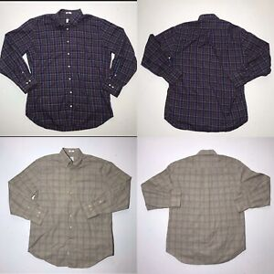 Lot-2-Peter-Millar-Button-Down-Casual-Dress-Shirt-Mens-L-Plaid-Purple-Tan