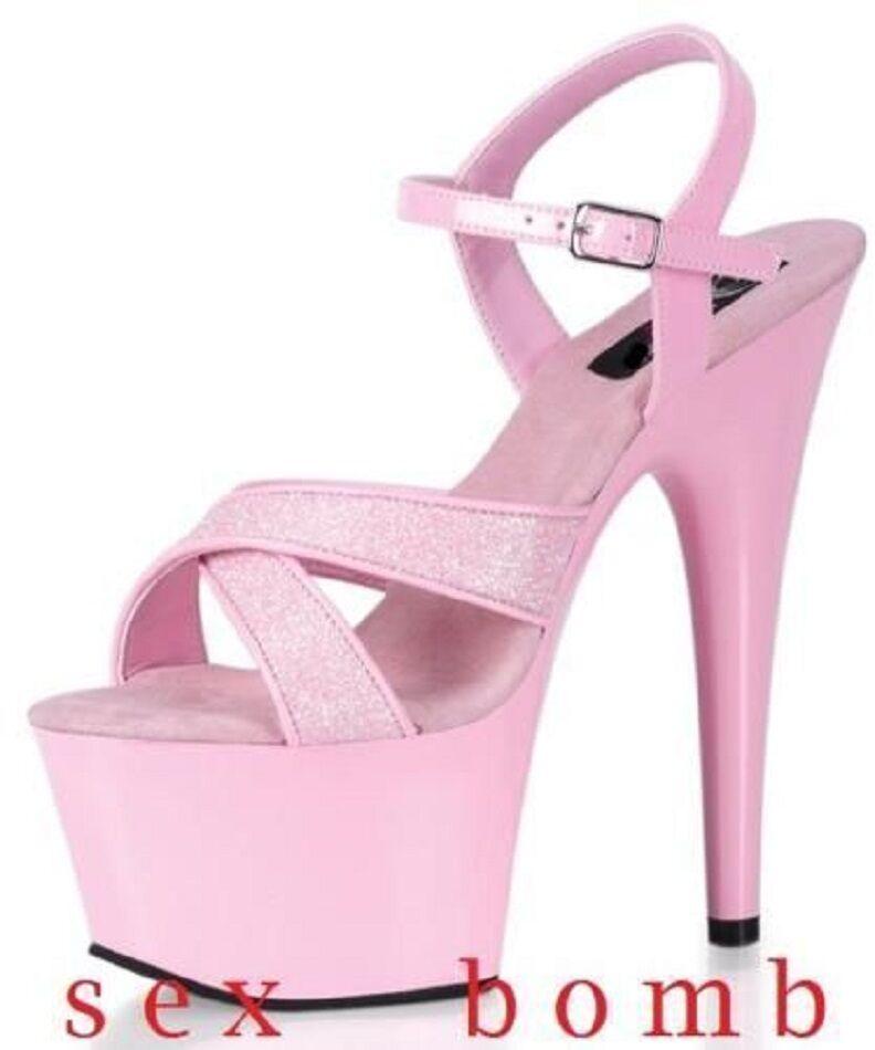 SEXY sandali tacco 18 n. 39 ROSA GLITTER plateau scarpe fashion GLAMOUR !